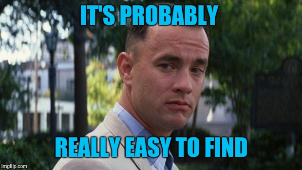 Forrest Gump | IT'S PROBABLY REALLY EASY TO FIND | image tagged in forrest gump | made w/ Imgflip meme maker