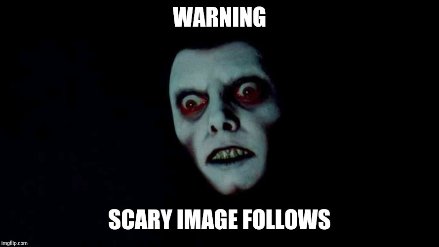 TRIGGER WARNING | WARNING SCARY IMAGE FOLLOWS | image tagged in the exorcist,funny meme,ironic,horror movie,triggered,warning | made w/ Imgflip meme maker