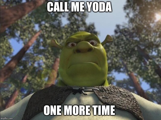 Shrek angry | CALL ME YODA ONE MORE TIME | image tagged in shrek angry | made w/ Imgflip meme maker