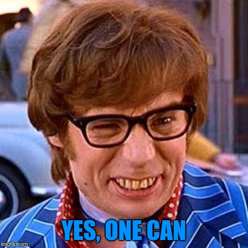 Austin Powers Wink | YES, ONE CAN | image tagged in austin powers wink | made w/ Imgflip meme maker