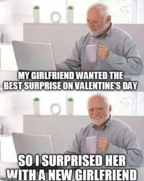 So How was my surprise? | MY GIRLFRIEND WANTED THE BEST SURPRISE ON VALENTINE'S DAY SO I SURPRISED HER WITH A NEW GIRLFRIEND | image tagged in memes,hide the pain harold,meme,valentine's day,surprise | made w/ Imgflip meme maker