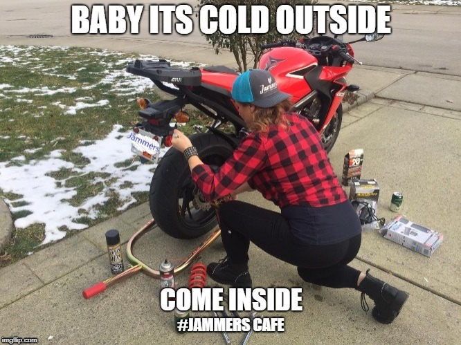 Baby its Cold outside | COME INSIDE | image tagged in honda,motorcycle,beer,bikers,hot girl,snow | made w/ Imgflip meme maker