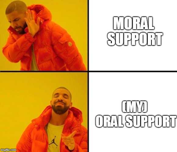 drake meme | MORAL SUPPORT (MY) ORAL SUPPORT | image tagged in drake meme | made w/ Imgflip meme maker