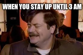 WHEN YOU STAY UP UNTIL 3 AM | image tagged in ron swanson,memes | made w/ Imgflip meme maker