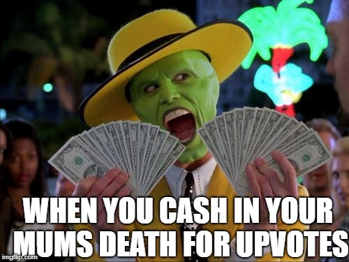 Money Money Meme | WHEN YOU CASH IN YOUR MUMS DEATH FOR UPVOTES | image tagged in memes,money money | made w/ Imgflip meme maker