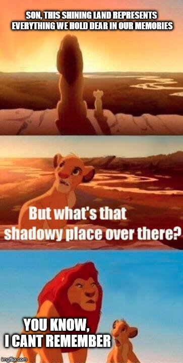 Simba Shadowy Place Meme | SON, THIS SHINING LAND REPRESENTS EVERYTHING WE HOLD DEAR IN OUR MEMORIES YOU KNOW, I CANT REMEMBER | image tagged in memes,simba shadowy place | made w/ Imgflip meme maker