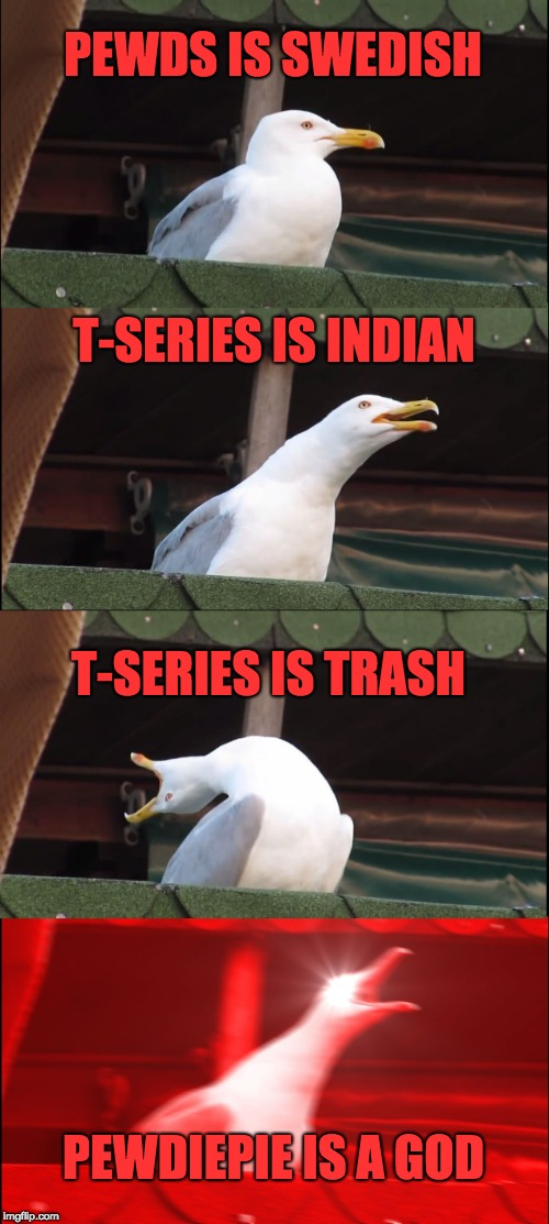 Inhaling Seagull Meme | PEWDS IS SWEDISH T-SERIES IS INDIAN T-SERIES IS TRASH PEWDIEPIE IS A GOD | image tagged in memes,inhaling seagull | made w/ Imgflip meme maker