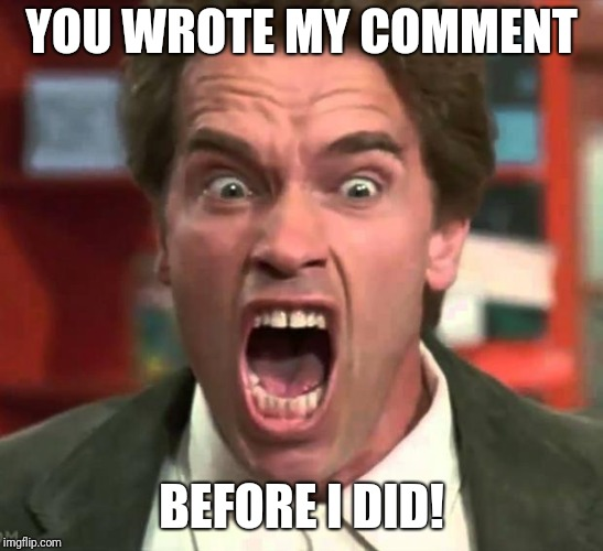 Arnold yelling | YOU WROTE MY COMMENT BEFORE I DID! | image tagged in arnold yelling | made w/ Imgflip meme maker
