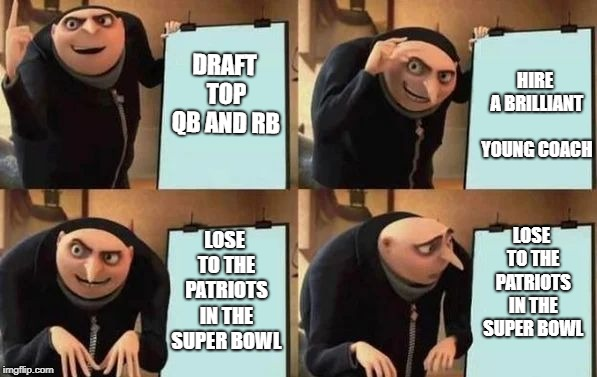 The Ram's Plan | DRAFT TOP QB AND RB HIRE A BRILLIANT YOUNG COACH LOSE TO THE PATRIOTS IN THE SUPER BOWL LOSE TO THE PATRIOTS IN THE SUPER BOWL | image tagged in gru's plan | made w/ Imgflip meme maker