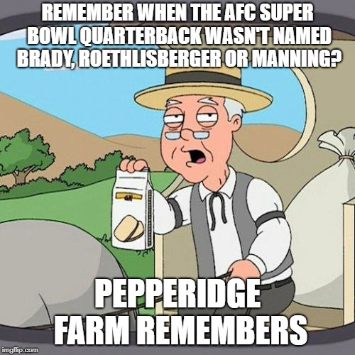 Pepperidge Farm Remembers Meme | REMEMBER WHEN THE AFC SUPER BOWL QUARTERBACK WASN'T NAMED BRADY, ROETHLISBERGER OR MANNING? PEPPERIDGE FARM REMEMBERS | image tagged in memes,pepperidge farm remembers | made w/ Imgflip meme maker