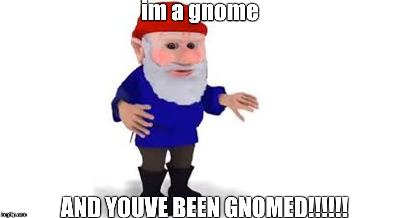 gnomed |  im a gnome; AND YOUVE BEEN GNOMED!!!!!! | image tagged in gnomed | made w/ Imgflip meme maker