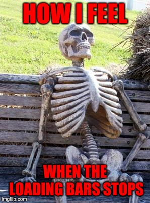 Waiting Skeleton | HOW I FEEL WHEN THE LOADING BARS STOPS | image tagged in memes,waiting skeleton | made w/ Imgflip meme maker