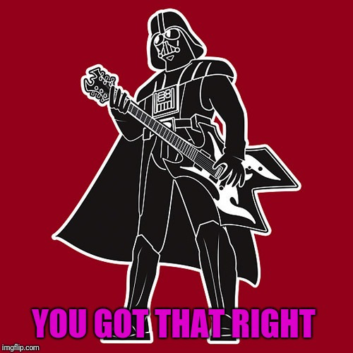 Darth Vader w/ heavy metal guitar | YOU GOT THAT RIGHT | image tagged in darth vader w/ heavy metal guitar | made w/ Imgflip meme maker