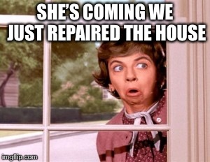 nosey neighbor | SHE'S COMING WE JUST REPAIRED THE HOUSE | image tagged in nosey neighbor | made w/ Imgflip meme maker