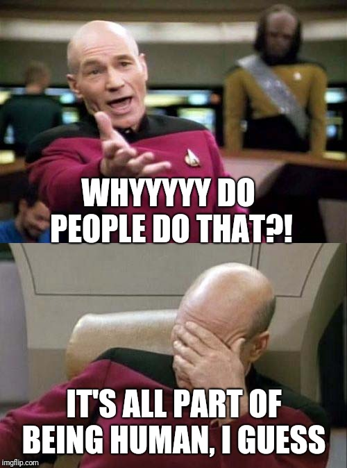 Picard WTF and Facepalm combined | WHYYYYY DO PEOPLE DO THAT?! IT'S ALL PART OF BEING HUMAN, I GUESS | image tagged in picard wtf and facepalm combined | made w/ Imgflip meme maker