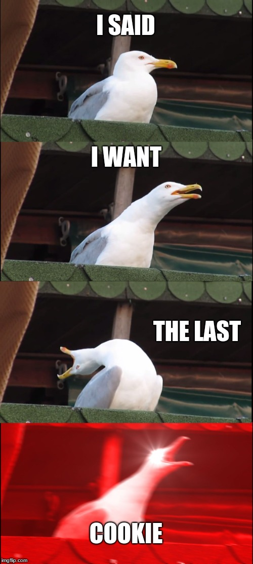 Inhaling Seagull Meme | I SAID I WANT THE LAST COOKIE | image tagged in memes,inhaling seagull | made w/ Imgflip meme maker