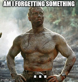 Predator |  AM I FORGETTING SOMETHING; . . . | image tagged in memes,predator | made w/ Imgflip meme maker