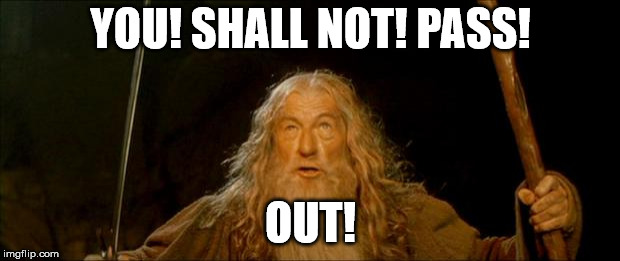 gandalf you shall not pass | YOU! SHALL NOT! PASS! OUT! | image tagged in gandalf you shall not pass | made w/ Imgflip meme maker