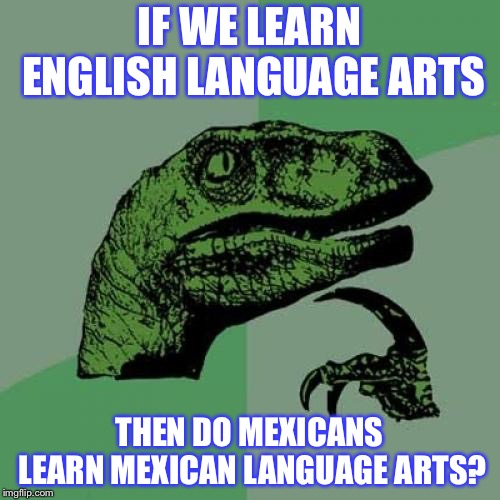 Philosoraptor Meme | IF WE LEARN ENGLISH LANGUAGE ARTS THEN DO MEXICANS LEARN MEXICAN LANGUAGE ARTS? | image tagged in memes,philosoraptor | made w/ Imgflip meme maker