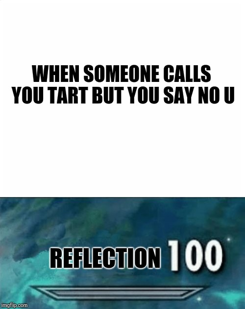 REFLECTION WHEN SOMEONE CALLS YOU TART BUT YOU SAY NO U | image tagged in blank page,100 | made w/ Imgflip meme maker