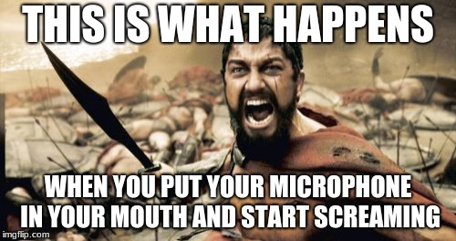 Sparta Leonidas Meme |  THIS IS WHAT HAPPENS; WHEN YOU PUT YOUR MICROPHONE IN YOUR MOUTH AND START SCREAMING | image tagged in memes,sparta leonidas | made w/ Imgflip meme maker