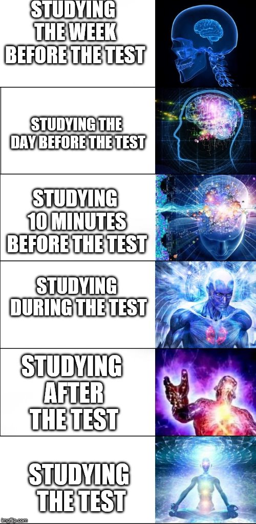 Expanding Brain Meme (6 steps) | STUDYING THE WEEK BEFORE THE TEST STUDYING THE TEST STUDYING THE DAY BEFORE THE TEST STUDYING 10 MINUTES BEFORE THE TEST STUDYING DURING THE | image tagged in expanding brain meme 6 steps | made w/ Imgflip meme maker