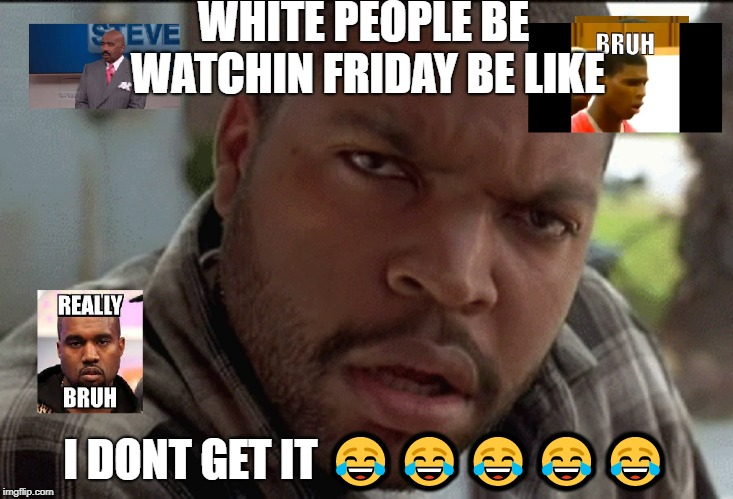 bruh!!!!!! | WHITE PEOPLE BE WATCHIN FRIDAY BE LIKE I DONT GET IT  | image tagged in bruh | made w/ Imgflip meme maker