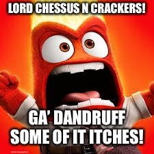 Inside Out Anger | LORD CHESSUS N CRACKERS! GA' DANDRUFF SOME OF IT ITCHES! | image tagged in inside out anger | made w/ Imgflip meme maker