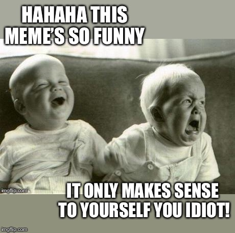 Lol baby vs WTF baby | HAHAHA THIS MEME'S SO FUNNY IT ONLY MAKES SENSE TO YOURSELF YOU IDIOT! | image tagged in lol baby vs wtf baby | made w/ Imgflip meme maker