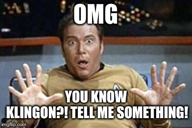 captain kirk jazz hands | OMG YOU KNOW KLINGON?! TELL ME SOMETHING! | image tagged in captain kirk jazz hands | made w/ Imgflip meme maker