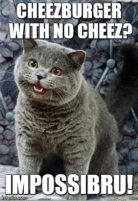 I can has cheezburger cat | CHEEZBURGER WITH NO CHEEZ? IMPOSSIBRU! | image tagged in i can has cheezburger cat | made w/ Imgflip meme maker
