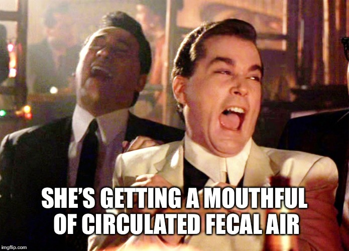 Good Fellas Hilarious Meme | SHE'S GETTING A MOUTHFUL OF CIRCULATED FECAL AIR | image tagged in memes,good fellas hilarious | made w/ Imgflip meme maker