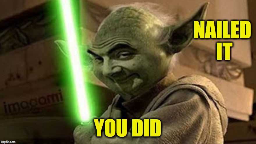 bean yoda | NAILED IT YOU DID | image tagged in bean yoda | made w/ Imgflip meme maker