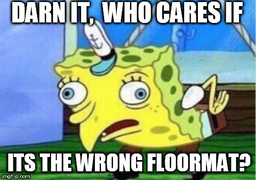 Mocking Spongebob Meme | DARN IT,  WHO CARES IF ITS THE WRONG FLOORMAT? | image tagged in memes,mocking spongebob | made w/ Imgflip meme maker