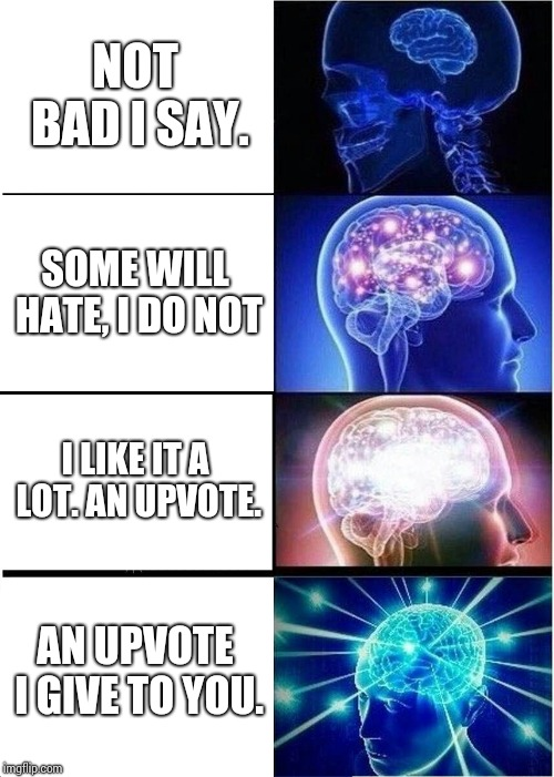 Expanding Brain Meme | NOT BAD I SAY. SOME WILL HATE, I DO NOT I LIKE IT A LOT. AN UPVOTE. AN UPVOTE I GIVE TO YOU. | image tagged in memes,expanding brain | made w/ Imgflip meme maker