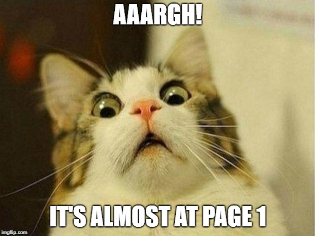 Scared Cat Meme | AAARGH! IT'S ALMOST AT PAGE 1 | image tagged in memes,scared cat | made w/ Imgflip meme maker