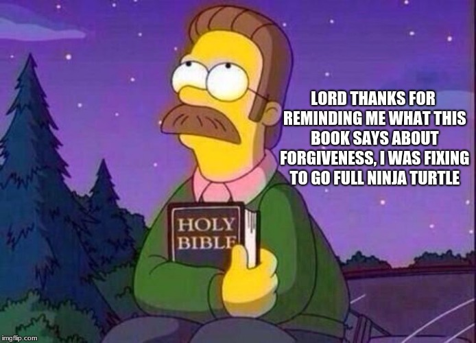 Hate and forgiveness are choices you make.  | LORD THANKS FOR REMINDING ME WHAT THIS BOOK SAYS ABOUT FORGIVENESS, I WAS FIXING TO GO FULL NINJA TURTLE | image tagged in ned flanders and bible,never go full ninja turtle,forgiveness,hate,choices | made w/ Imgflip meme maker