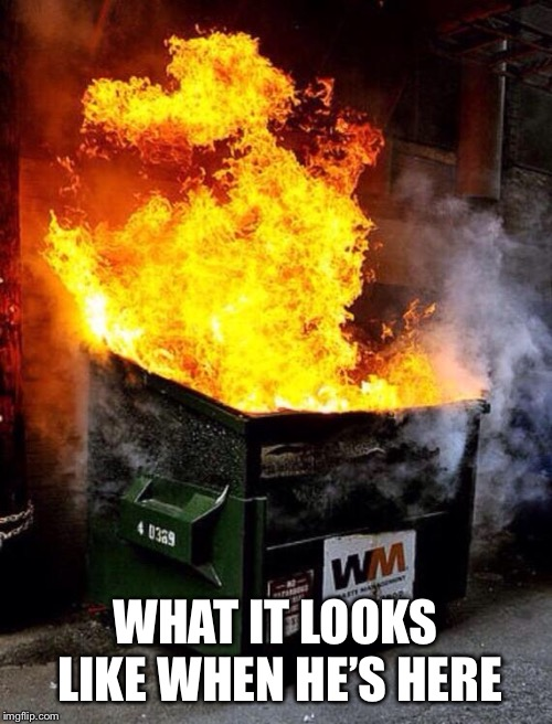 Dumpster Fire | WHAT IT LOOKS LIKE WHEN HE'S HERE | image tagged in dumpster fire | made w/ Imgflip meme maker