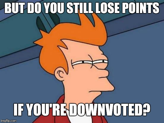 Futurama Fry Meme | BUT DO YOU STILL LOSE POINTS IF YOU'RE DOWNVOTED? | image tagged in memes,futurama fry | made w/ Imgflip meme maker