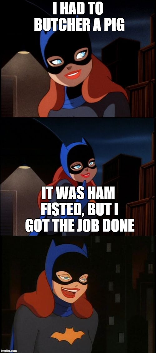 I once butchered a deer | I HAD TO BUTCHER A PIG IT WAS HAM FISTED, BUT I GOT THE JOB DONE | image tagged in bad pun batgirl,memes,funny,bad pun,butcher | made w/ Imgflip meme maker