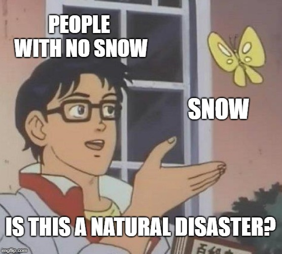 Is This A Pigeon Meme | PEOPLE WITH NO SNOW SNOW IS THIS A NATURAL DISASTER? | image tagged in memes,is this a pigeon | made w/ Imgflip meme maker