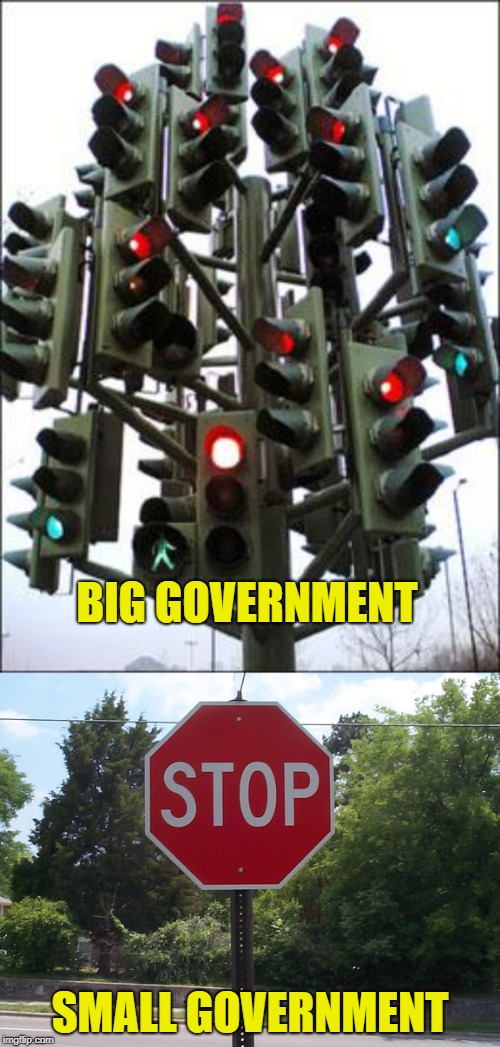Which one works better? | BIG GOVERNMENT SMALL GOVERNMENT | image tagged in traffic light tree,stop sign,big government,small government | made w/ Imgflip meme maker