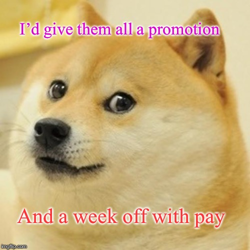 Doge Meme | I'd give them all a promotion And a week off with pay | image tagged in memes,doge | made w/ Imgflip meme maker