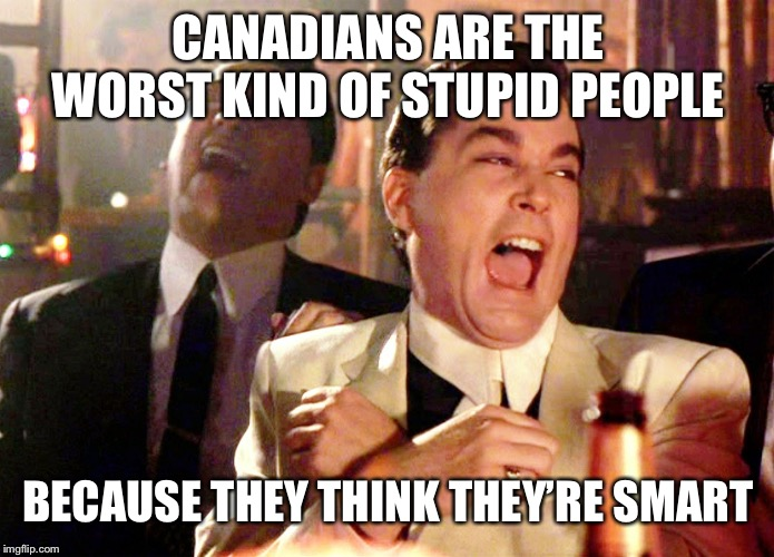 Good Fellas Hilarious | CANADIANS ARE THE WORST KIND OF STUPID PEOPLE BECAUSE THEY THINK THEY'RE SMART | image tagged in memes,good fellas hilarious | made w/ Imgflip meme maker