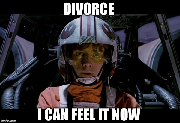 Use the force luke | DIVORCE I CAN FEEL IT NOW | image tagged in use the force luke | made w/ Imgflip meme maker