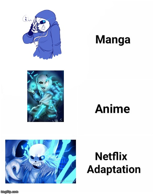 Another sans meme | image tagged in netflix adaptation,sans,sans undertale | made w/ Imgflip meme maker