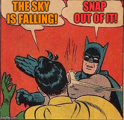 Batman Slapping Robin Meme | THE SKY IS FALLING! SNAP OUT OF IT! | image tagged in memes,batman slapping robin | made w/ Imgflip meme maker