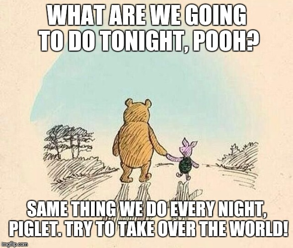 Pooh and Piglet |  WHAT ARE WE GOING TO DO TONIGHT, POOH? SAME THING WE DO EVERY NIGHT, PIGLET. TRY TO TAKE OVER THE WORLD! | image tagged in pooh and piglet | made w/ Imgflip meme maker