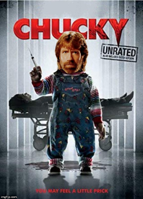 image tagged in chucky,chuck norris,horror movie,chucknorris,spoof,doll | made w/ Imgflip meme maker
