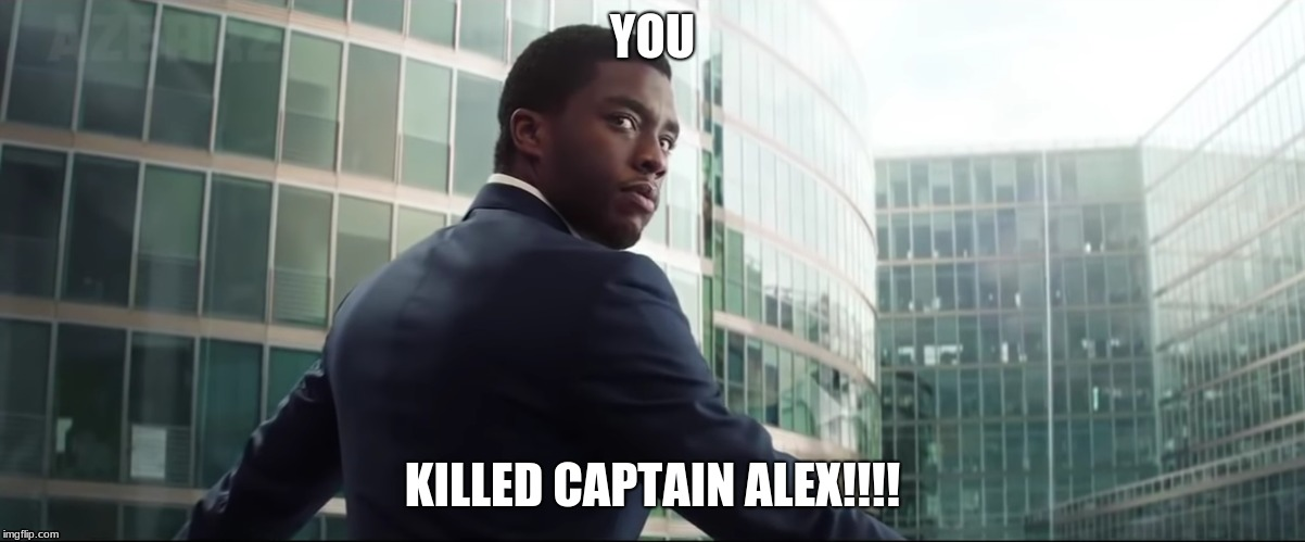 YOU KILLED CAPTAIN ALEX!!!! | image tagged in black panther | made w/ Imgflip meme maker